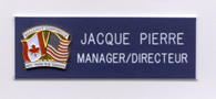 Engraved namebadge with custom pin