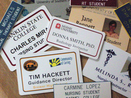 Just a few of our nametags....