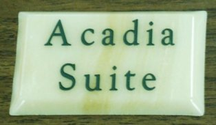 Engraved onyx with forest green paint filled lettering